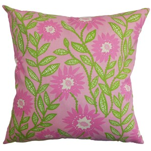 Leena Pink and Green 18 x 18 Floral Throw Pillow