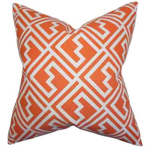 Ragnhild Orange 18 x 18 Geometric Throw Pillow