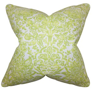 Daija Green 18 x 18 Floral Throw Pillow