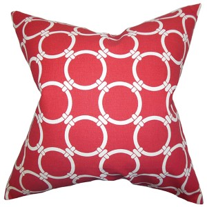 Betchet Red 18 x 18 Geometric Throw Pillow