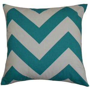 Eir Turqoise 18 x 18 Zigzag Throw Pillow