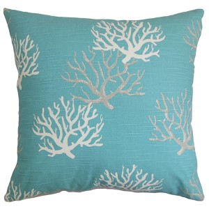 Hafwen Blue 18 x 18 Coastal Throw Pillow