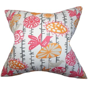 Nettle Pink and Grey 18 x 18 Floral Throw Pillow