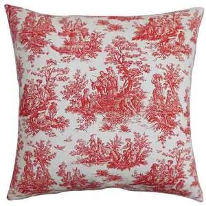 Lalibela Red 18 x 18 Toile Throw Pillow