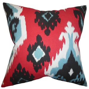 Djuna Red 18 x 18 Ikat Throw Pillow