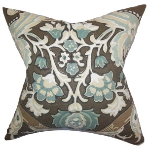 Kiriah Gray 18 x 18 Floral Throw Pillow