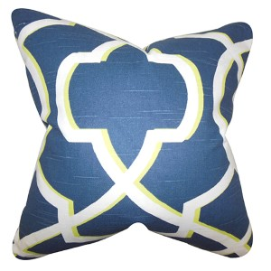 Curan Blue and White 18 x 18 Geometric Throw Pillow