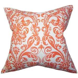 Saskia Orange 18 x 18 Patterned Throw Pillow