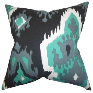 Djuna Gray 18 x 18 Ikat Throw Pillow