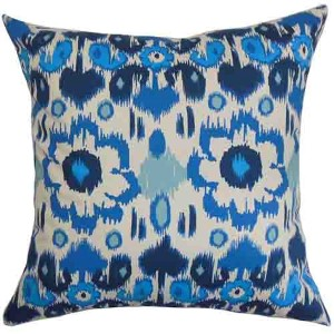 Querida Natural Blue 18 x 18 Patterned Throw Pillow