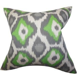 Becan Green 18 x 18 Ikat Throw Pillow