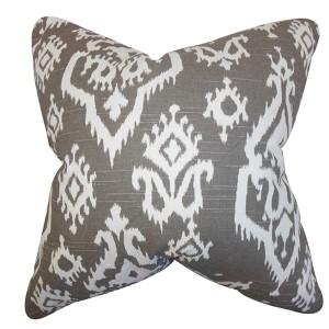 Baraka Brown 18 x 18 Ikat Throw Pillow
