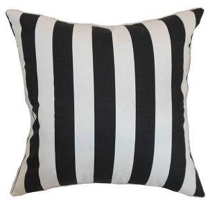 Ilaam Natural Black 18 x 18 Stripes Throw Pillow