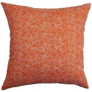 Edythe Orange 18 x 18 Zigzag Throw Pillow