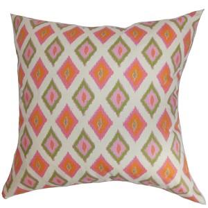 Ipomen Pink 18 x 18 Ikat Throw Pillow