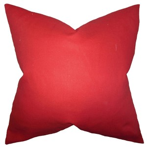Kalindi Red 18 x 18 Solid Throw Pillow
