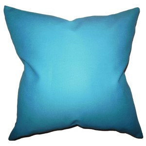 Kalindi Aqua 18 x 18 Solid Throw Pillow