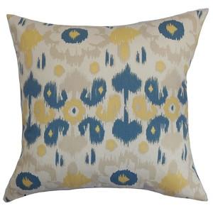 Querida Denim Natural Blue 18 x 18 Patterned Throw Pillow