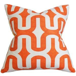 Jaslene Tangelo Slub 18 x 18 Geometric Throw Pillow