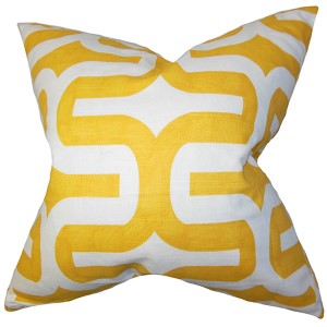 Jaslene Yellow 18 x 18 Geometric Throw Pillow