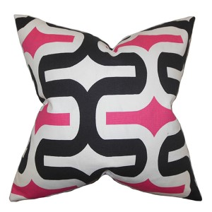 Jaslene Candy Pink and Black 18 x 18 Geometric Throw Pillow