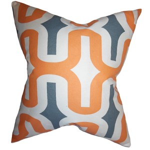 Jaslene Orange 18 x 18 Geometric Throw Pillow
