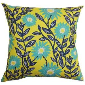 Leena Green 18 x 18 Floral Throw Pillow