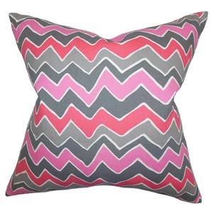 Achsah Pink and Gray 18 x 18 Zigzag Throw Pillow