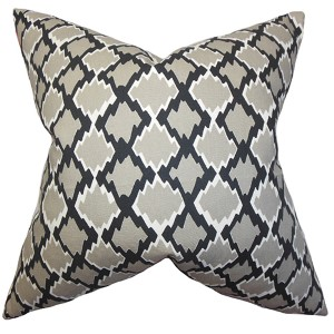 Welcome Gray 18 x 18 Geometric Throw Pillow