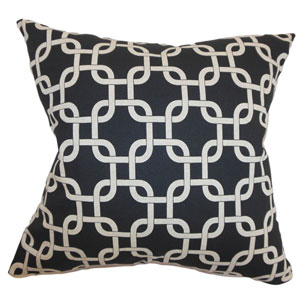 Qishn Geometric Pillow Black Linen