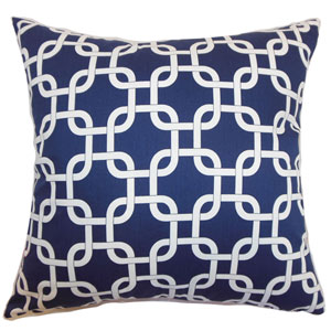 Qishn Geometric Pillow Blue Twill