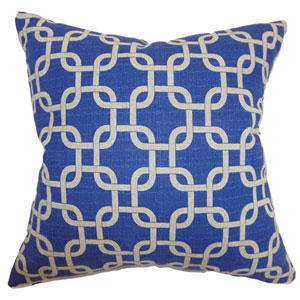 Qishn Geometric Pillow Peacock Blue Denton