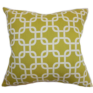 Qishn Geometric Pillow Summerland Yellow Natural