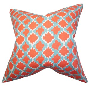 Welcome Orange 18 x 18 Geometric Throw Pillow