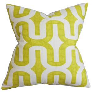 Jaslene Green 18 x 18 Geometric Throw Pillow