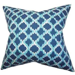 Welcome Blue 18 x 18 Geometric Throw Pillow