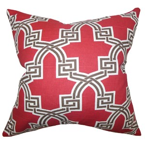 Letha Red 18 x 18 Geometric Throw Pillow