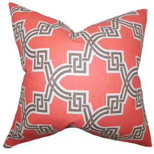 Letha Orange 18 x 18 Geometric Throw Pillow