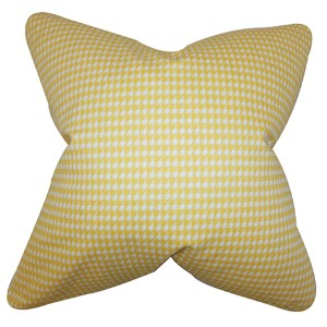 Lviv Yellow 18 x 18 Plaid Throw Pillow