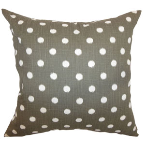 Rennice Ikat Dots Pillow Grapevine Brown Dossett