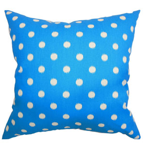 Rennice Ikat Dots Pillow Grasshopper Blue Natural