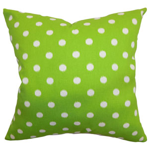 Rennice Ikat Dots Pillow Grasshopper Green Natural
