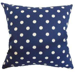 Rennice Ikat Dots Pillow Navy Natural