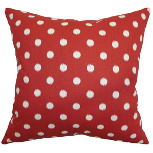Rennice Ikat Dots Pillow Primary Red Natural