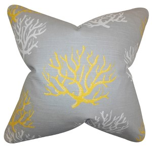 Hafwen Yellow 18 x 18 Coastal Throw Pillow