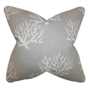 Hafwen Gray 18 x 18 Coastal Throw Pillow