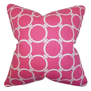 Betchet Pink 18 x 18 Geometric Throw Pillow