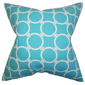 Betchet Blue 18 x 18 Geometric Throw Pillow