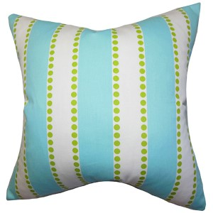 Odienne Blue 18 x 18 Stripes Throw Pillow
