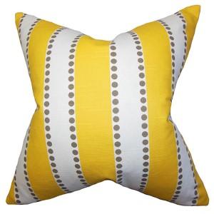 Odienne Yellow 18 x 18 Stripes Throw Pillow